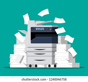 Office multifunction machine. Pile of paper documents. Bureaucracy, paperwork, chaos in office. Printer copy scanner device. Proffesional printing station. illustration in flat style