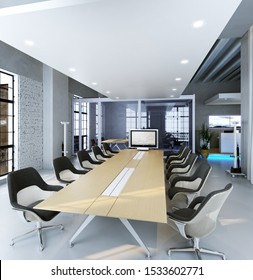 office open workspace area in modern building 3d rendering