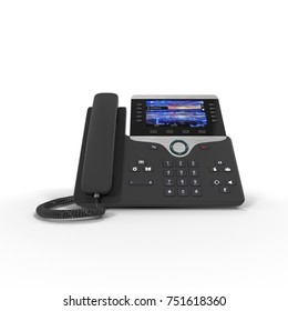 Office Phone - IP Phone technology for business on a white. Front view. 3D illustration