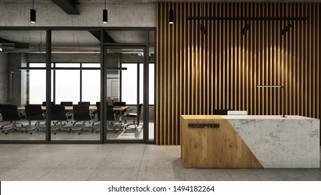 Office  reception design Modern & Loft,Concrete wood half counter in front of the wood slat,Concrete floor - 3D render