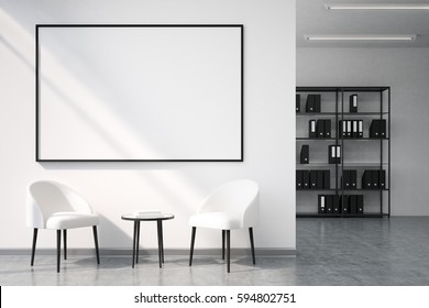 Office recreation area with a whiteboard hanging on a white wall, a tiny coffee table and two armchairs. There is a bookshelf at the background. 3d rendering, mock up