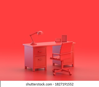 office room with desk and chair  in red background, monochrome single color red 3d Icon, 3d rendering