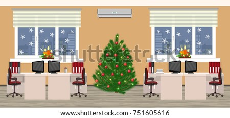 Office room interior in christmas design with two work spaces at evening before xmas. Holiday eve in company office. Flat style illustration.