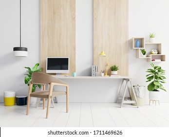 Office room with a white background.3D Rendering