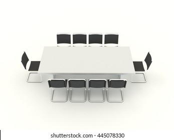 Office single table with chairs in meeting room isolated on white background. Classroom, training, study, classes, lectures, interviews, lesson, education. High resolution top view 3d illustration