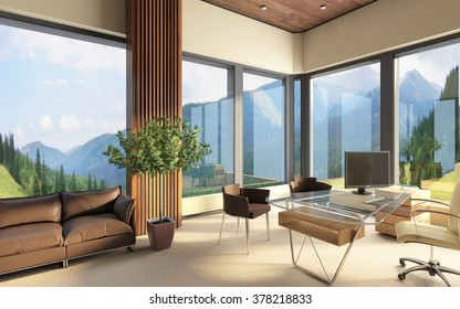 Office Space In Big Contemporary Building  3d rendering