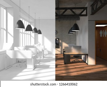 The office space is divided into two parts by an imaginary line. On the one hand a beautiful bright interior, on the other completely white. 3d rendering mock up