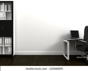 Office space with a table and bookshelves