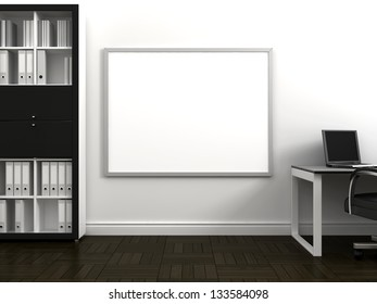 Office space with a table, bookshelves and a dry erase board