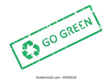 An office stamp with green letters go green.