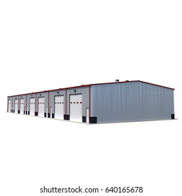 Office and Storage Warehouse Building on white. 3D illustration