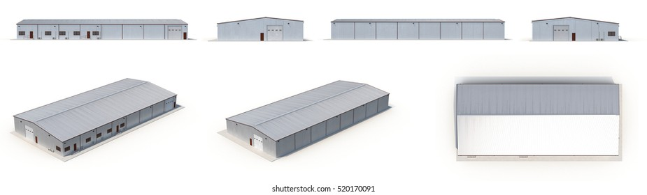 Office and Storage Warehouse Building renders set from different angles on a white. 3D illustration