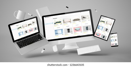 office stuff and devices floating with online shop 3d rendering