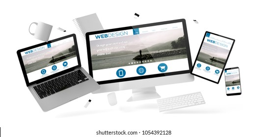 office stuff and devices floating with web design website 3d rendering