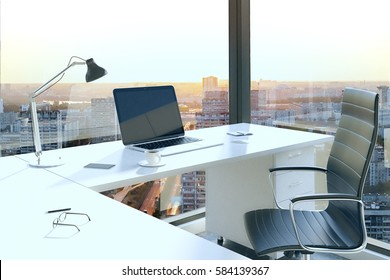 Office table with blank laptop in interior with panoramic city view and daylight. Mock up, 3D Rendering