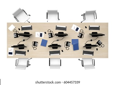 office table group work top view isolated on white. 3d rendering