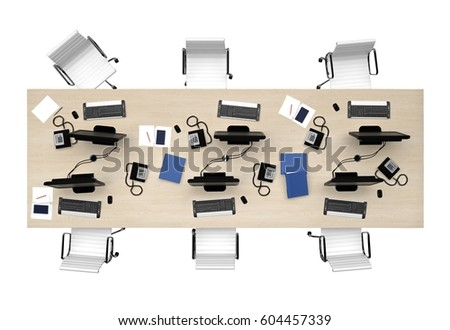 office table group work top viewのイラスト素材 604457339 shutterstock