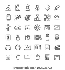 Office and time management icons collection. Strategy and hierarchy, tactics and goal, illustration