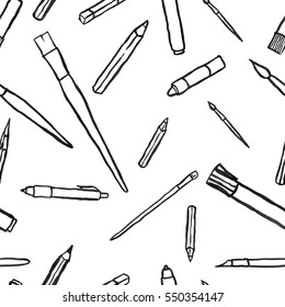 Office tools seamless pattern. Closely and random placed big black tools B: brush, pencil, marker, pen. Perfect fit to another tools pattern, borders are the same