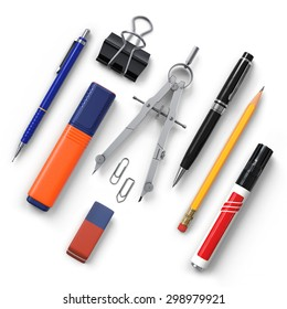 Office tools.Diagonal.Pencil.Clip. Highlighter.Compass.Eraser.Pen.Marker.Realistic 3D rendering.Isolated on white background.Top view.