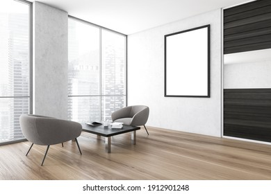Office waiting area. There are two armchairs near a coffee table, a poster above it and a room with glass walls in behind it. 3d rendering, mock up