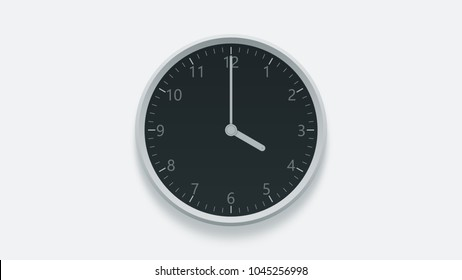 Office wall clock displays 4 oclock. 3D rendering