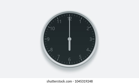 Office wall clock displays 6 oclock. 3D rendering