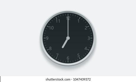 Office wall clock displays 7 oclock. 3D rendering