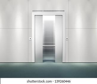 office wall with opened lift doors