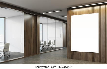 Office with wooden walls, conference rooms with glass walls and poster. 3d rendering. Mock up.