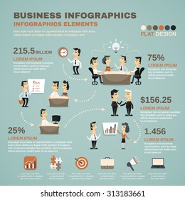 Office work business team effective management and creative planning infographics charts poster print abstract isolated  illustration