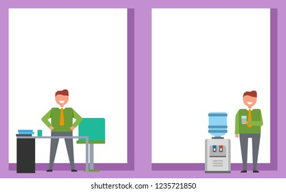 Office work posters set with smiling men with glass of water standing near watercooler or at table workplace.  in bright colors isolated on white