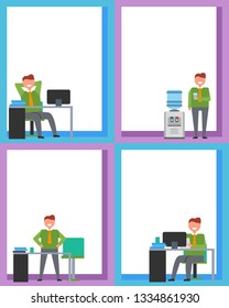 Office work posters set with smiling men with glass of water standing near watercooler or at table workplace, having rest at table raster