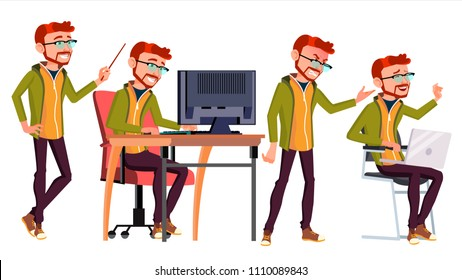 Office Worker. Businessman Worker. Lifestyle. Animated Elements. Poses. Red Head, Ginger. Front, Side View. Happy Job. Partner Clerk Servant Employee Isolated Flat Cartoon Illustration