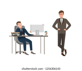 Office worker dressed in business suit sits at desk with computer and sleeps, his boss angrily looks at him. Concept of fatigue at work. Cartoon illustration.