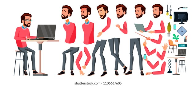 Office Worker. Face Emotions, Various Gestures. Animation Creation Set. Businessman Worker. Happy Job. Partner, Clerk, Servant, Employee Flat Cartoon Illustration