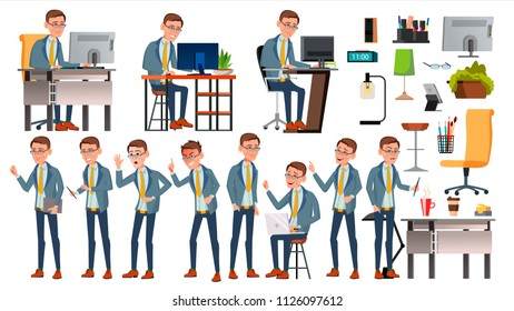 Office Worker. Face Emotions, Various Gestures. Business Human. Smiling Manager, Servant, Workman, Officer Flat Character Illustration