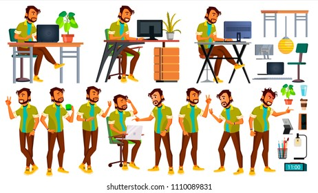 Office Worker. Indian Businessman Worker. Animated Elements. Poses. Front, Side View. Happy Job. Partner, Clerk Servant Employee Isolated Flat Cartoon Illustration