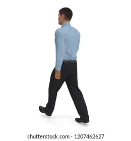 Office Worker Walking Pose On White Background. 3D Illustration, isolated