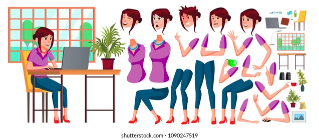 Office Worker. Woman. Happy Clerk, Servant, Employee. Business Human. Face Emotions, Various Gestures. Animation Creation Set Isolated Illustration