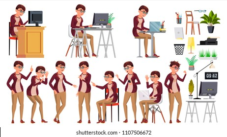 Office Worker. Woman. Happy Clerk, Servant, Employee. Business Human. Face Emotions, Various Gestures Isolated Character Illustration