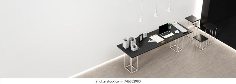 Office workstation showcase equipment, original 3d rendering, all the models completely original