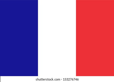 Official French flag of France - Proportions: 3:2 - Colours: Reflex Blue, Safe white, Red 032
