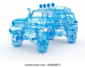 Offroad car design, wireframe model.