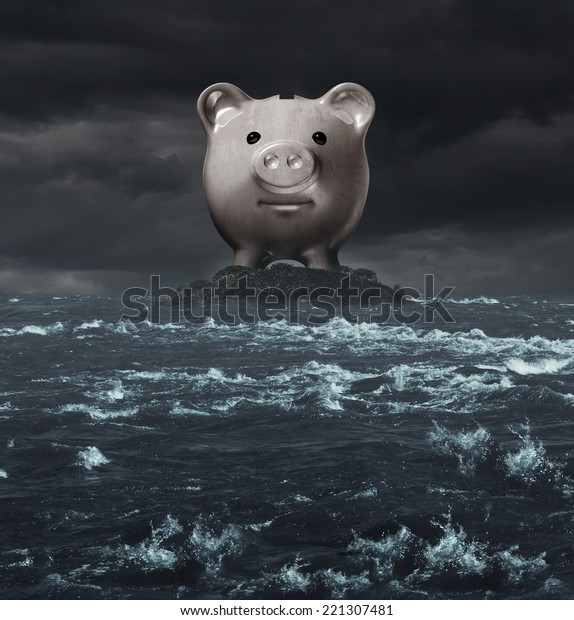 Offshore account and overseas banking concept as a tax haven symbol as a piggy bank on an island surrounded by a turbulent ocean as an icon for tax evasion or financial secrecy.
