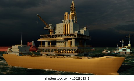 Offshore oil and gas rig platform with beautiful sky 3d rendering