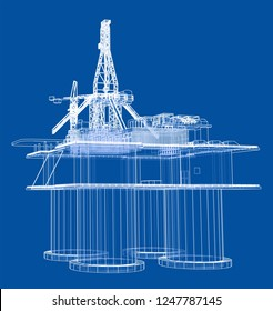 Offshore oil rig drilling platform concept. 3d illustration. Wire-frame style