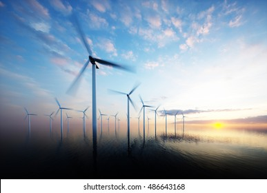 Offshore wind park at daybreak. 3d rendering.