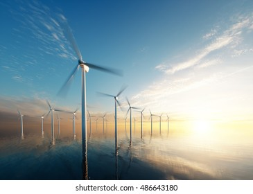 Offshore wind park at daybreak. 3d rendering.