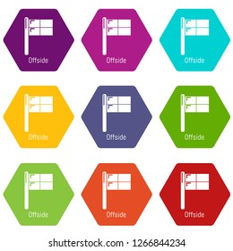 Offside icons 9 set coloful isolated on white for web